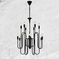 Люстра в современном исполнении (73-Н025) 12 ламп - чёрная