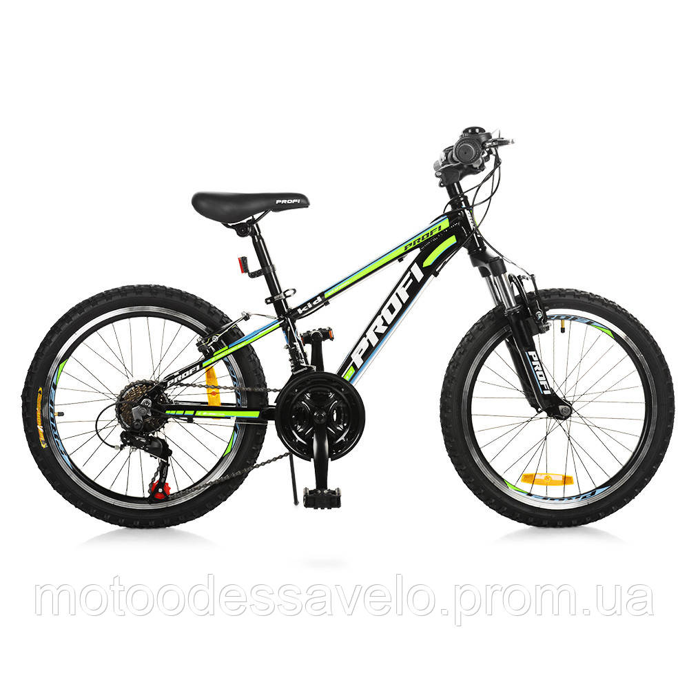 Велосипед детский PROF1 20 Д.  G20A315-L-1B черно-салатовый