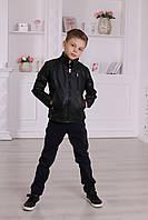 Утепленная кожанная куртка для мальчика или подростка, черного цвета