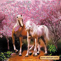 """Схема для вышивки бисером на натуральном холсте """"Влюбленные лошадки"""" AC-093"""