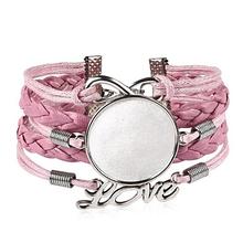 Браслет с основой под кабашон 25 мм, цвет розовый