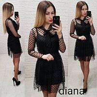 Платье - сетка! Цвет: черный