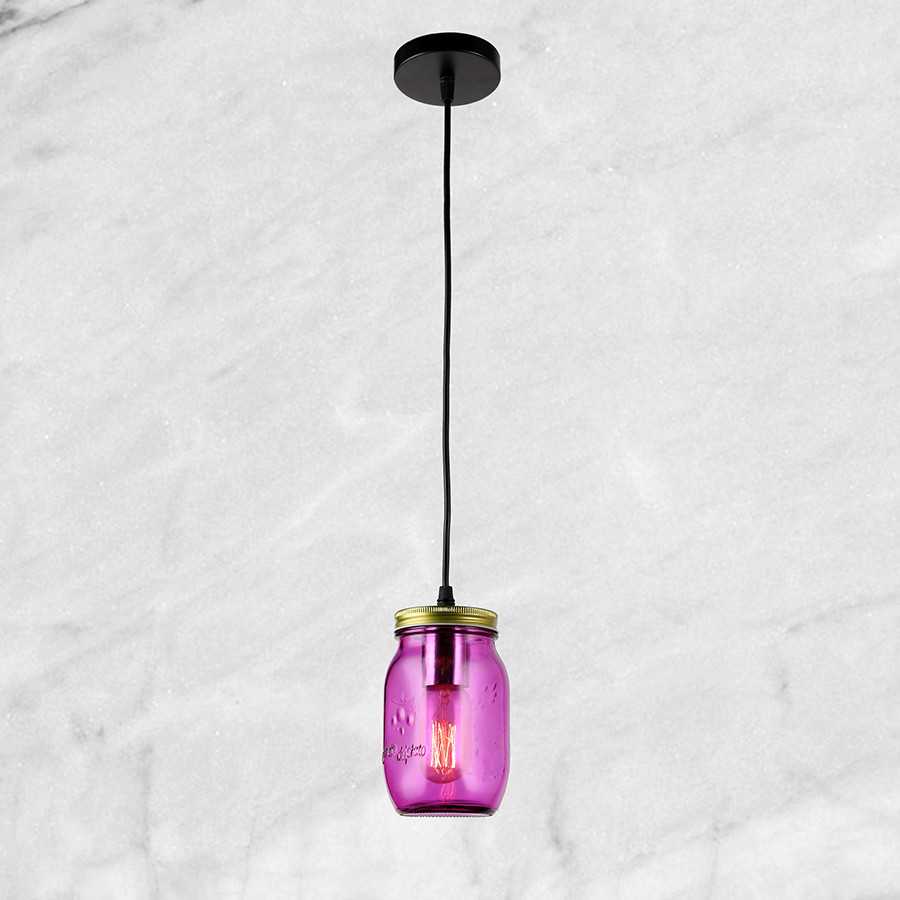 """Стеклянный подвес """"Баночка"""" (58-865-1) Фиолетовый"""