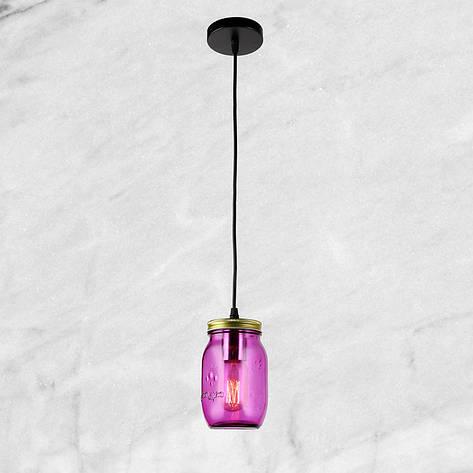 """Стеклянный подвес """"Баночка"""" (58-865-1) Фиолетовый, фото 2"""