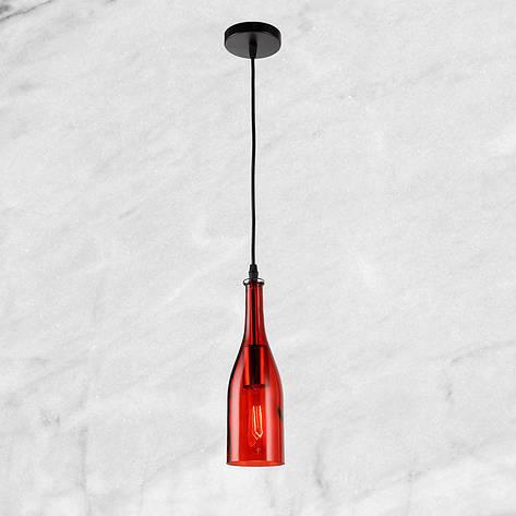 """Стеклянный подвес """"Бутылочка"""" (58-866-1) Красный, фото 2"""