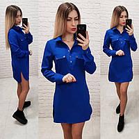 Платья-рубашка с длинным рукавом арт 2432