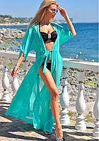 Пляжная туника длинная шифоновая в пол парео, фото 1