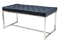 Удобный диван-лавка из бархатной ткани черного цвета на хромированных ножках Nautica