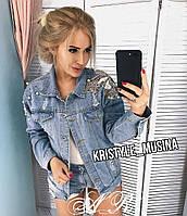 Куртка джинсова з метеликом, стильна, 607-001