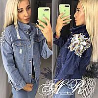 Куртка джинсова з метеликом, стильна, синя , 607-002