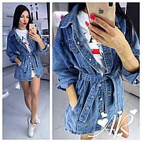 Куртка джинсова жіноча з поясом, стильна, 12031-003