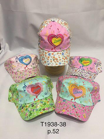 Дитяча літня кепка для дівчинки в квіточку Love р. 52, фото 2