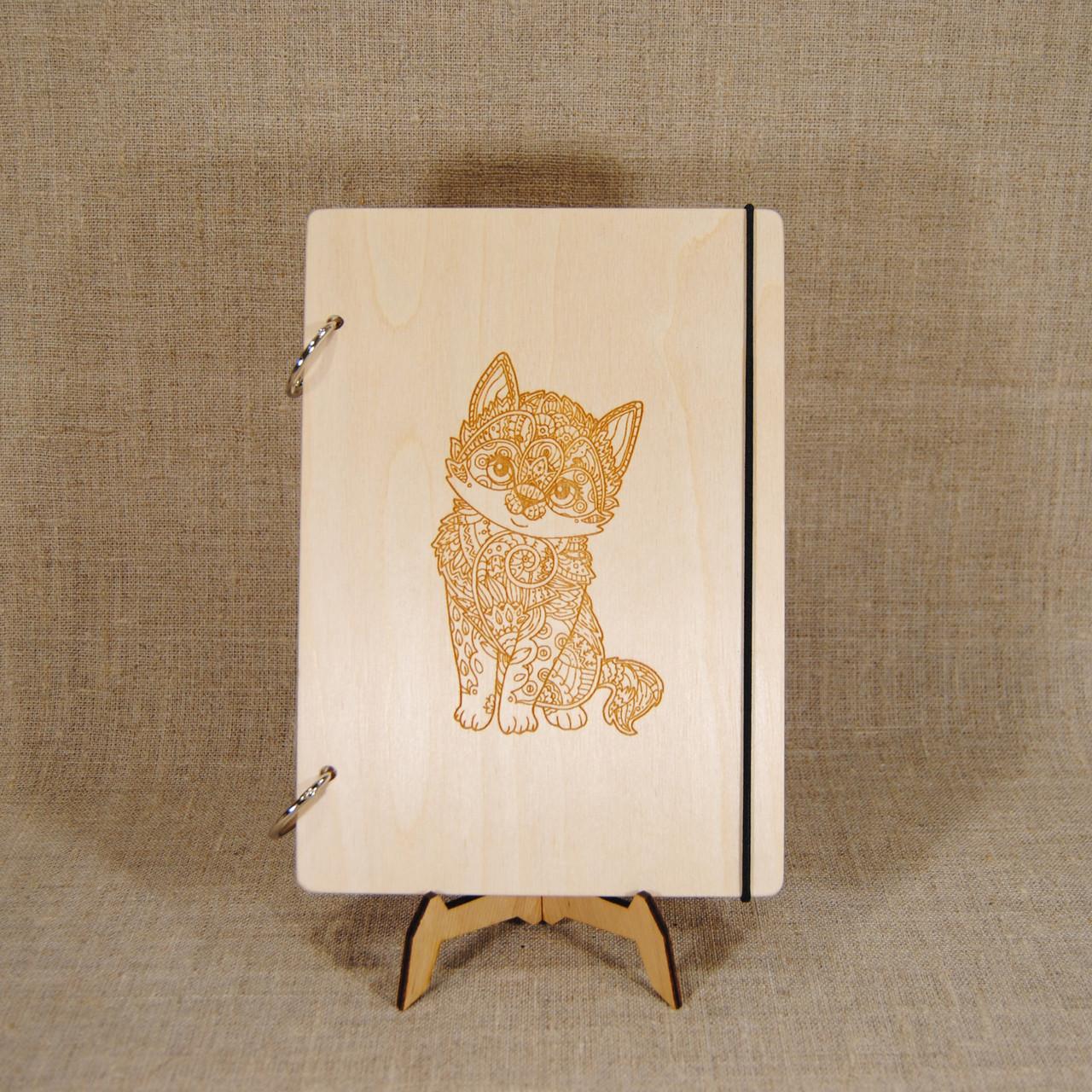Скетчбук A6. Блокнот с деревянной обложкой.