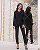 Элегантный деловой женский брючный костюм в полоску: пиджак на пуговице и брюки с высокой талией с поясом, фото 9