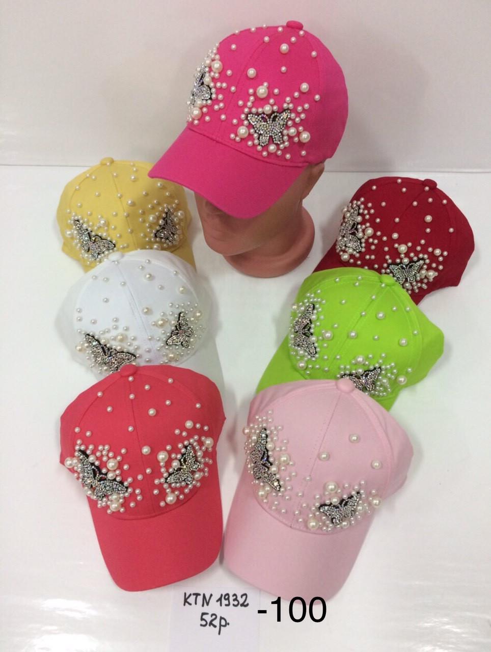 Летняя детская кепка Бабочка декорирована бусинками р.52