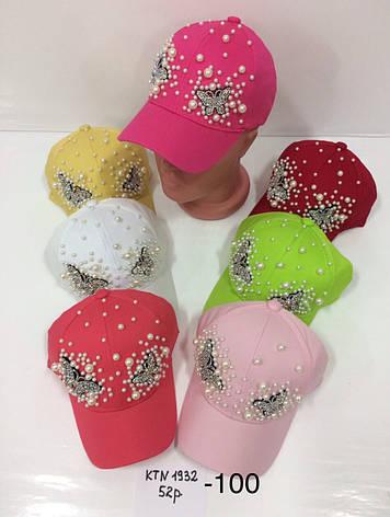 Летняя детская кепка Бабочка декорирована бусинками р.52, фото 2