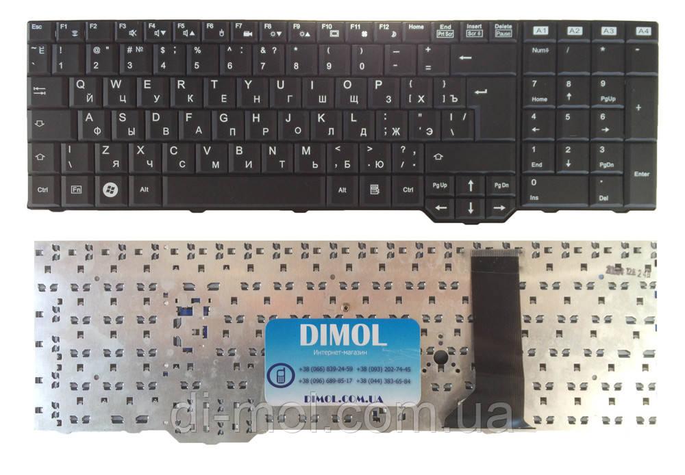 Оригинальная клавиатура для ноутбука Fujitsu Amilo Xa3520, Xa3530, Pi3625, Li3610, Xi3670 black, RU