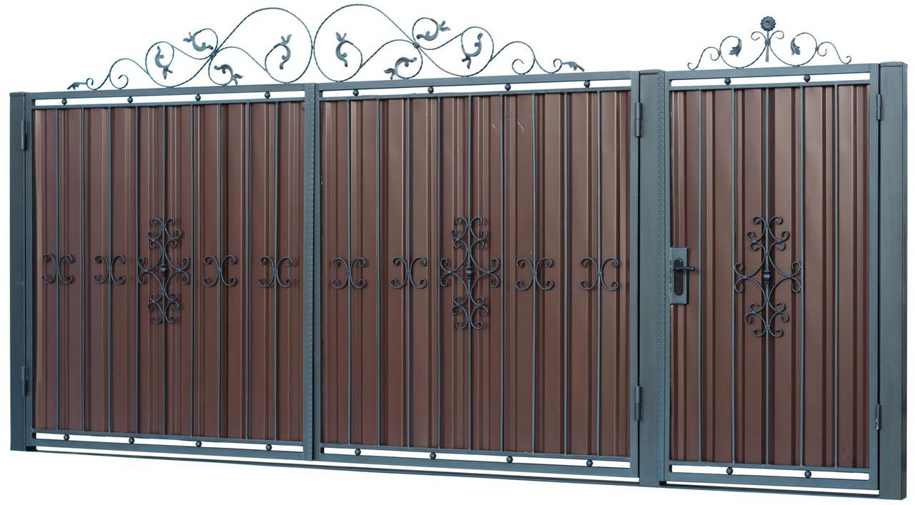 Кованные ворота и калитка В-01