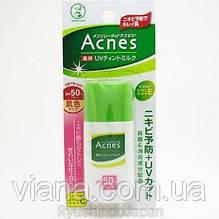 Солнцезащитное молочко для проблемной кожи Mentholatum Acnes Medicated UV Tinted Milk SPF 50 PA++ 30 gr