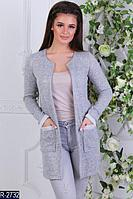 кардиган пиджак женский с накладными карманами с отделкой серый черный синий 42 44 46 48 50 52 Р
