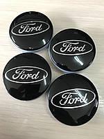 Колпачки заглушки в литые диски Ford/Форд 54/51/10 мм. 6m21-1003-AA Черные/ хром