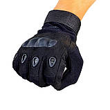 Перчатки тактические с карбоновым кастетом черные, фото 2