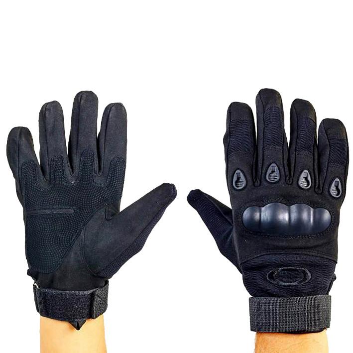 Перчатки тактические с карбоновым кастетом черные