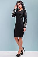 Нарядное платье женское трикотажное с вышивкой 44-50 размера черное, фото 1