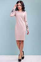 Нарядное платье женское трикотажное с вышивкой 44-50 размера кофейное, фото 1