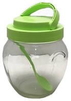 Стеклянная банка 1062 мл Everglass с зеленой пластиковой крышкой с ручкой и ложкой