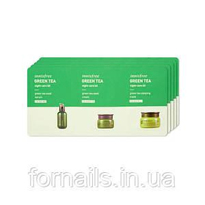 Innisfree Green Tea Night Care 3 Kit, Набор миниатюр с зеленым чаем для ночного ухода, 3шт