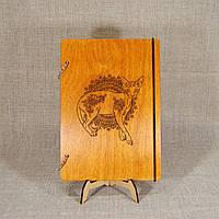 Скетчбук A5. Деревянный блокнот с котом., фото 1