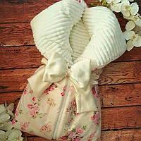 Теплый конверт трансформер  на молнии для новорожденных
