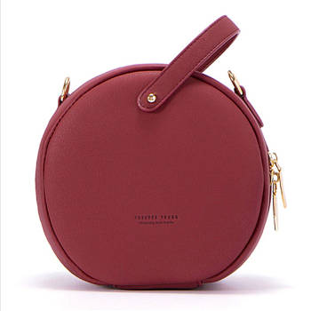 Модная маленькая женская сумка. Сумка женская круглая WEICHEN (винная)