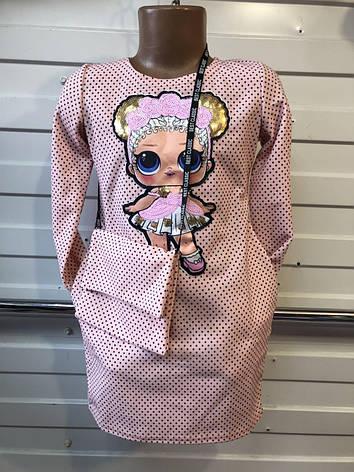 Платье для девочки на весну в горошек с сумочкой Лол 3-7 лет оптом, фото 2
