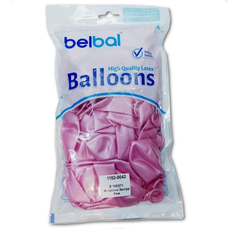 """Повітряні кулі Belbal металік 12""""(30 см) рожевий 50 шт"""