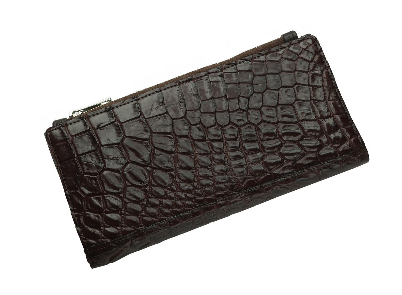 Кошелек из кожи крокодила на молнии Ekzotic Leather Коричневый (cw 93)