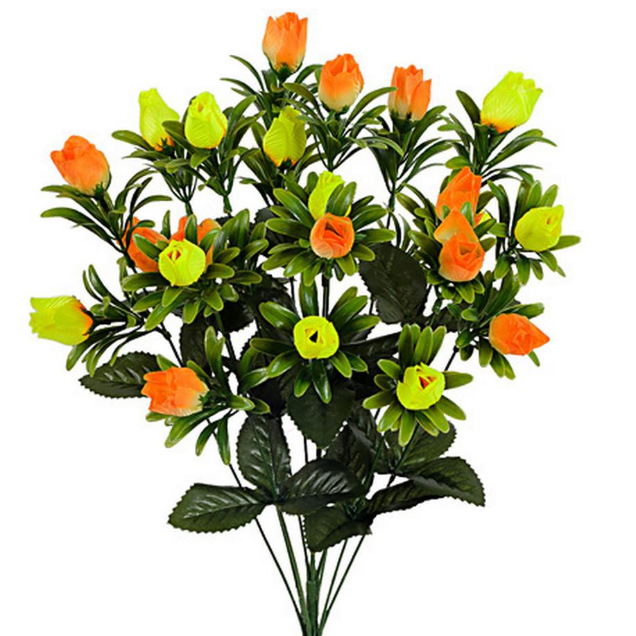 Букет бутонов роз атласных с пышной зеленью, 56см