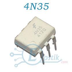 4N35, оптопара с транзисторным выходом, DIP6