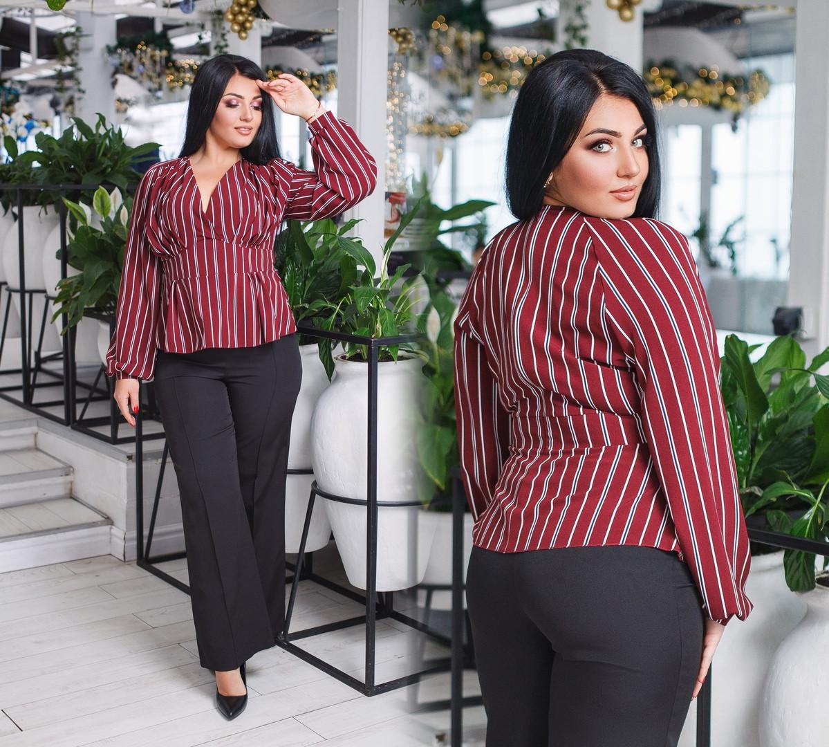 4b034200f99 Классический костюм больших размеров от 50 до 56 брюки с стрелками и блузка  в полоску арт