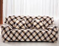 Чехол на диван Homytex бифлекс трехместный Клетка коричневый 195*230 см арт.6-12132