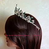 Діадема, корона під срібло з зеленими каменями, висота 5 див., фото 3