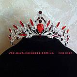 Діадема, корона під срібло з зеленими каменями, висота 5 див., фото 10