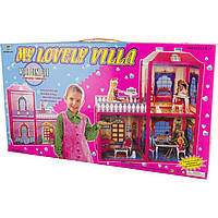 Дом 2 этажа, мебель, куклы, в коробке 60х42см 6984 (12)