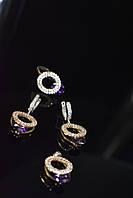 Серебряный комплект с Фиолетовым камнем Алпанит
