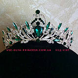 Диадема, корона под серебро с красными камнями, высота 5 см., фото 2