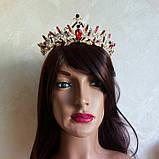 Диадема, корона под серебро с красными камнями, высота 5 см., фото 8