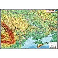 Карта Украины физическая 1:1250000 84х119см картон ламинация планки