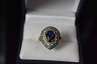 Серебряное кольцо с синим камнем Алпанит и вставками из бирюзы