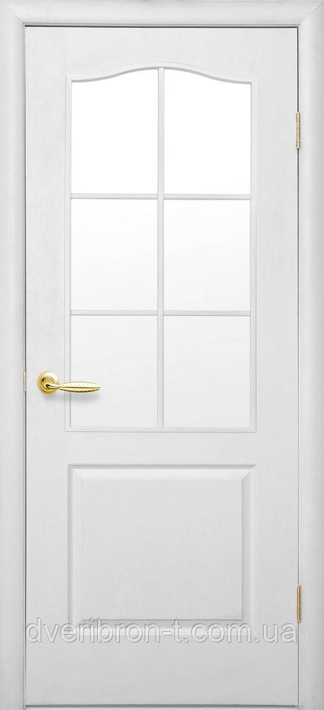 Двери Новый Стиль Дверь Классик ПО цвет белый структурный грунт со стеклом сатин, коллекция Симпли